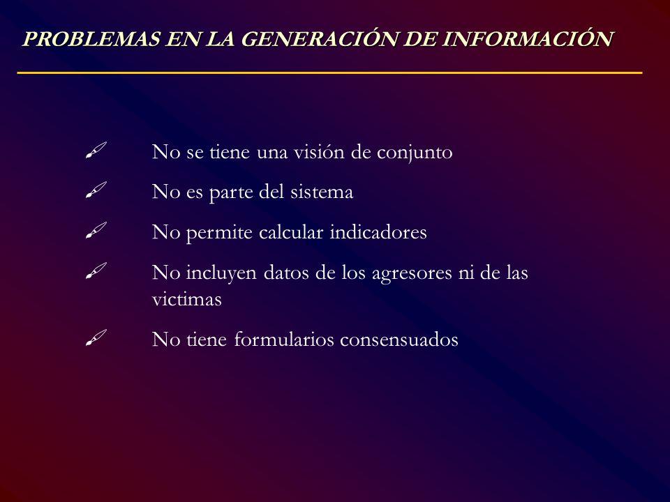 PROBLEMAS EN LA GENERACIÓN DE INFORMACIÓN