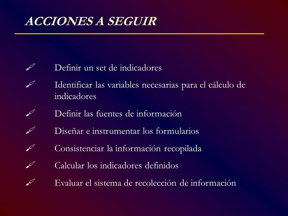 ACCIONES A SEGUIR  Definir un set de indicadores