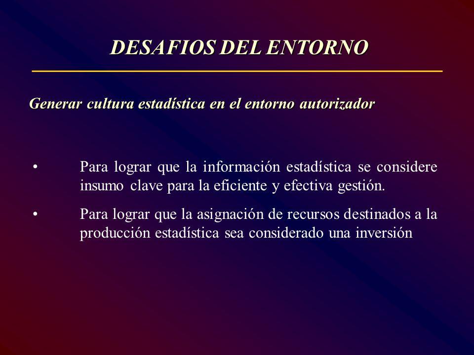 DESAFIOS DEL ENTORNO Generar cultura estadística en el entorno autorizador.
