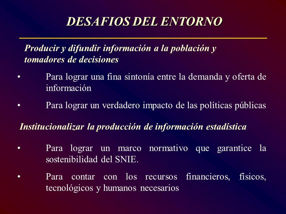 DESAFIOS DEL ENTORNO Producir y difundir información a la población y tomadores de decisiones.