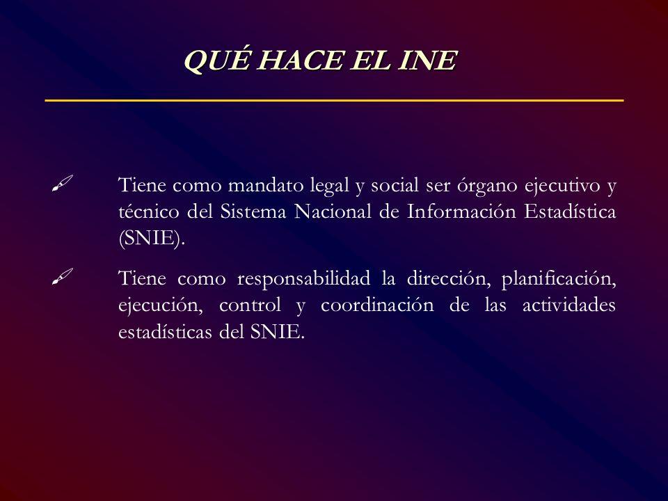 QUÉ HACE EL INE  Tiene como mandato legal y social ser órgano ejecutivo y técnico del Sistema Nacional de Información Estadística (SNIE).