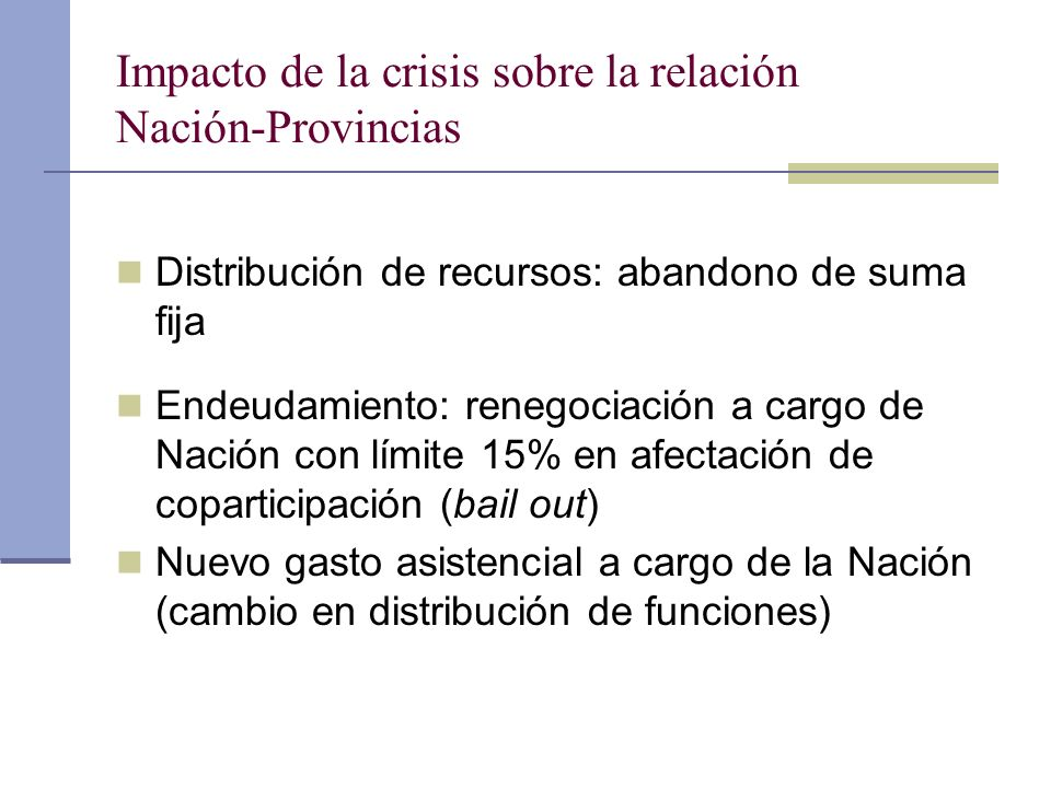 Impacto de la crisis sobre la relación Nación-Provincias