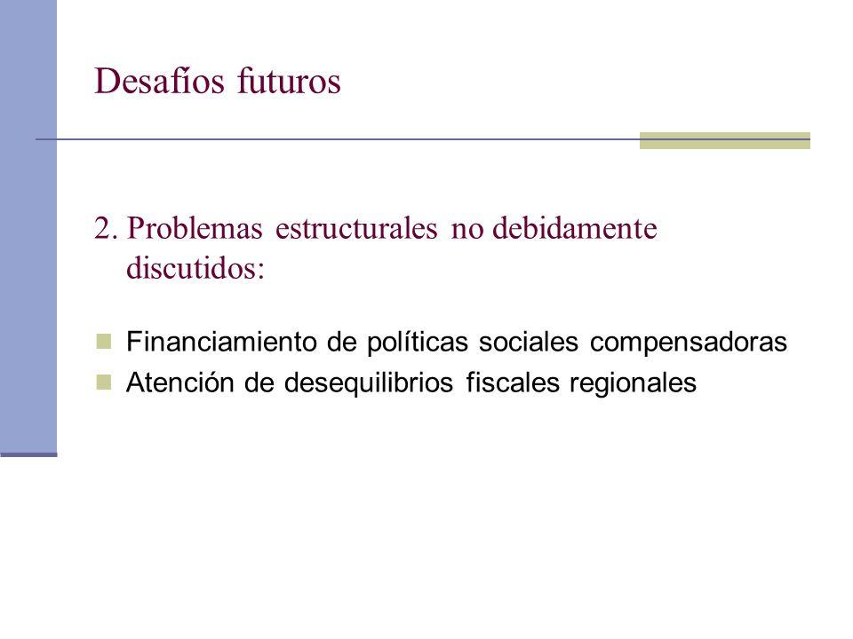 Desafíos futuros 2. Problemas estructurales no debidamente discutidos: