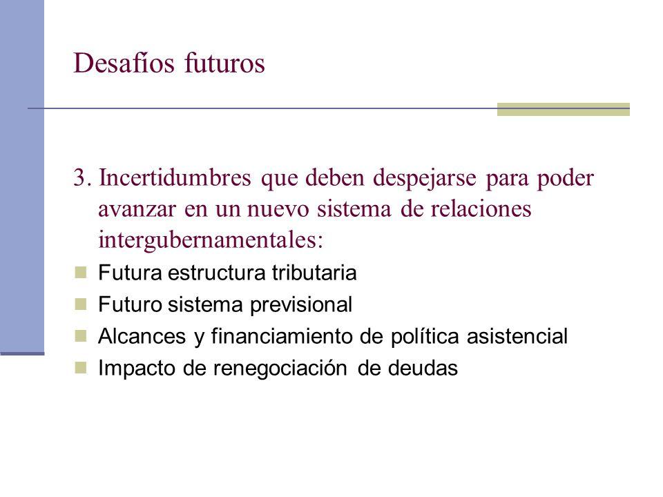 Desafíos futuros 3. Incertidumbres que deben despejarse para poder avanzar en un nuevo sistema de relaciones intergubernamentales: