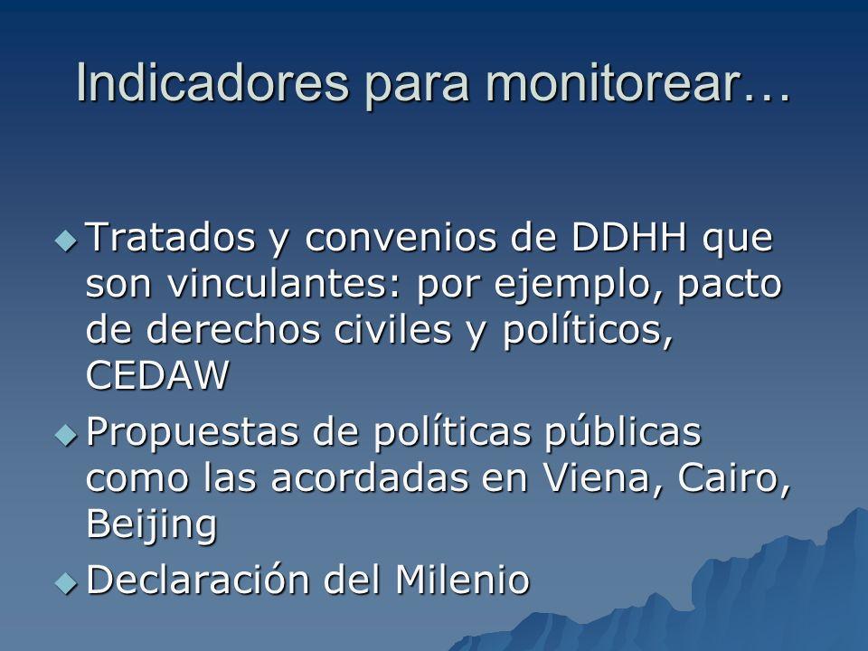 Indicadores para monitorear…