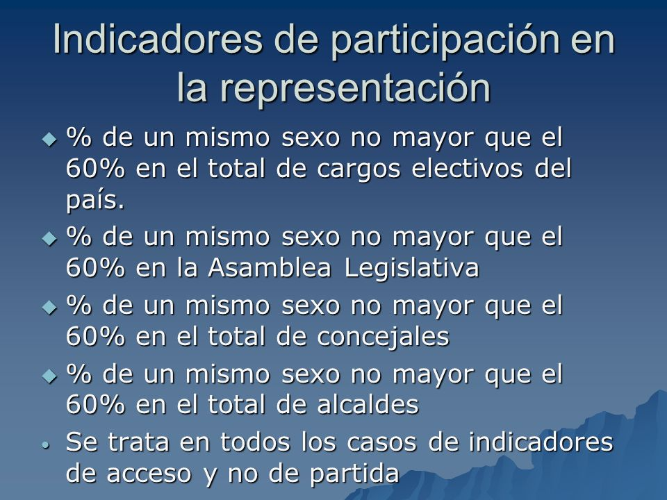 Indicadores de participación en la representación