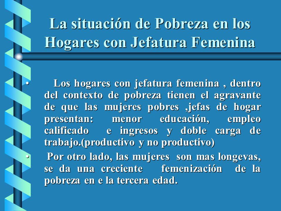 La situación de Pobreza en los Hogares con Jefatura Femenina