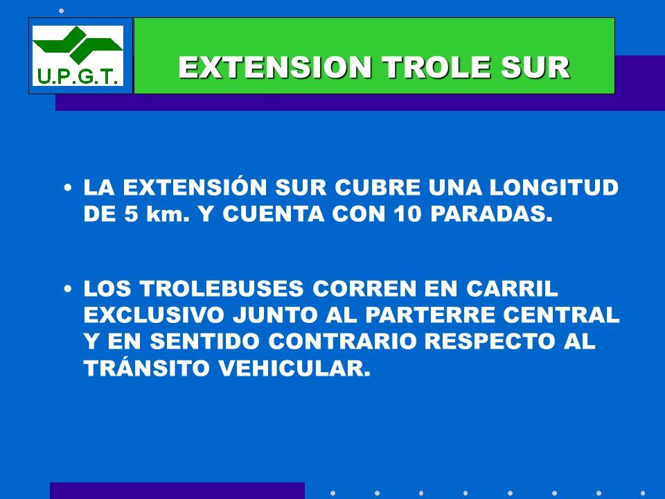 EXTENSIONESEXTENSION TROLE SUR. LA EXTENSIÓN SUR CUBRE UNA LONGITUD DE 5 km. Y CUENTA CON 10 PARADAS.