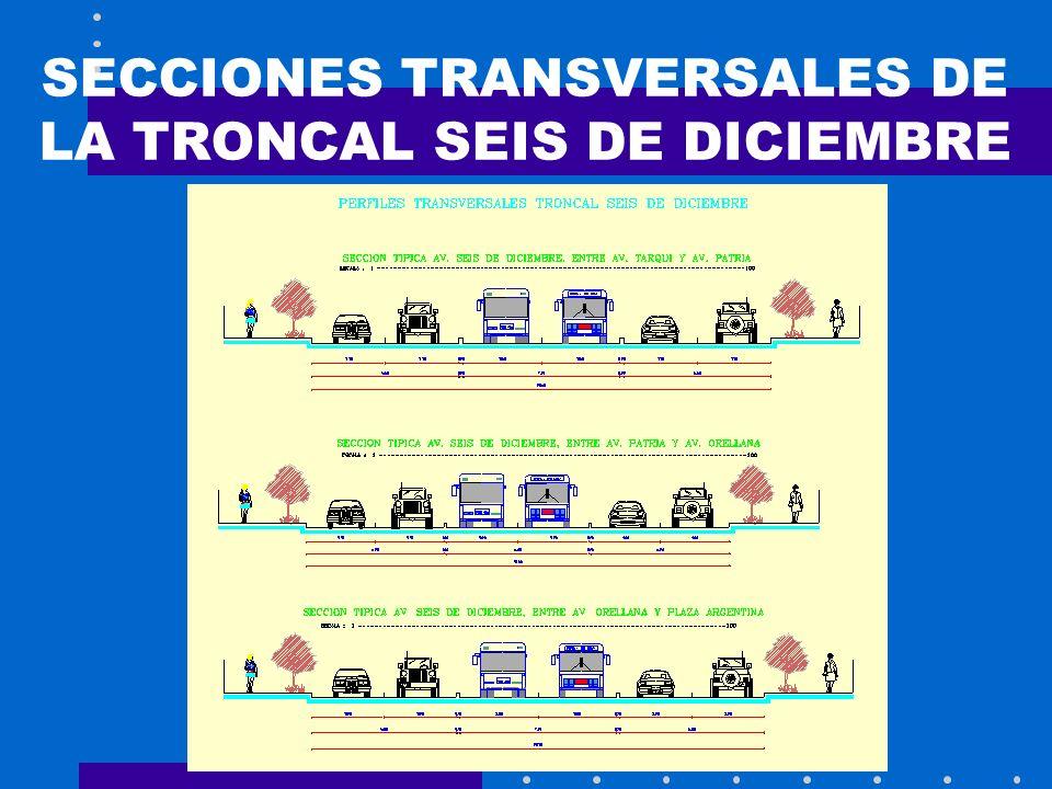 SECCIONES TRANSVERSALES DE LA TRONCAL SEIS DE DICIEMBRE