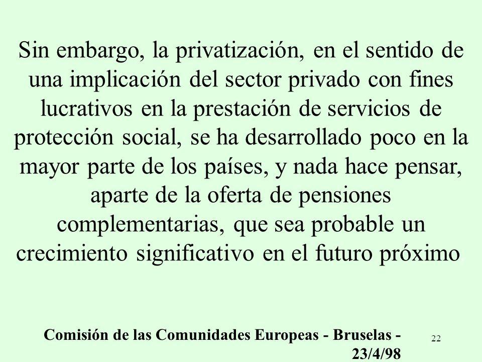 Sin embargo, la privatización, en el sentido de una implicación del sector privado con fines lucrativos en la prestación de servicios de protección social, se ha desarrollado poco en la mayor parte de los países, y nada hace pensar, aparte de la oferta de pensiones complementarias, que sea probable un crecimiento significativo en el futuro próximo.