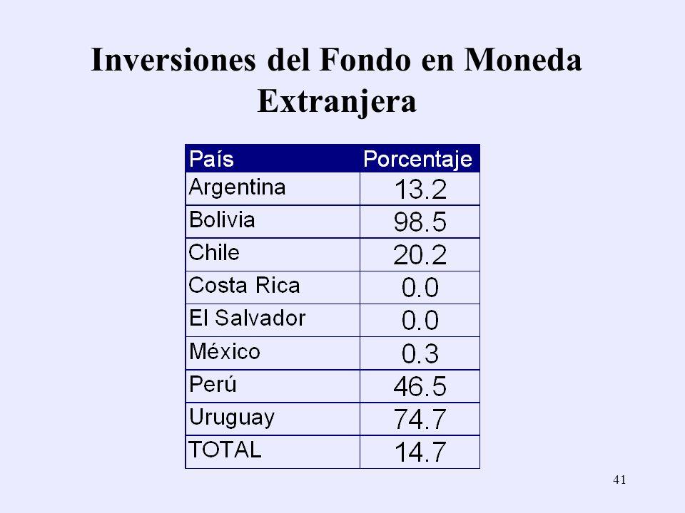Inversiones del Fondo en Moneda Extranjera