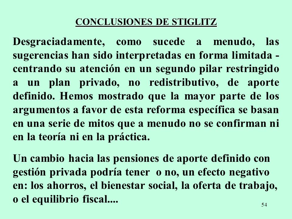 CONCLUSIONES DE STIGLITZ