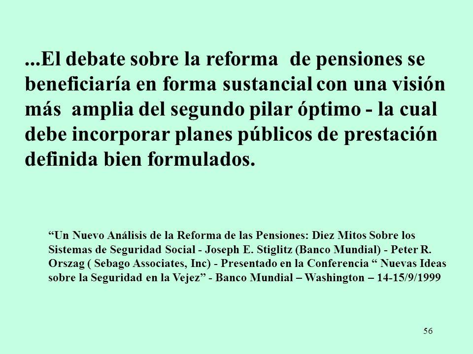 ...El debate sobre la reforma de pensiones se beneficiaría en forma sustancial con una visión más amplia del segundo pilar óptimo - la cual debe incorporar planes públicos de prestación definida bien formulados.