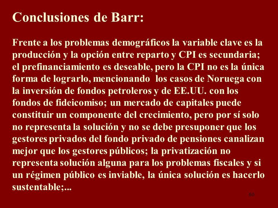 Conclusiones de Barr: