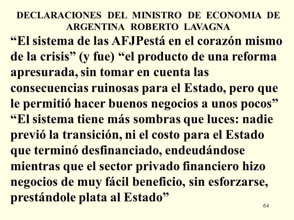 DECLARACIONES DEL MINISTRO DE ECONOMIA DE ARGENTINA ROBERTO LAVAGNA