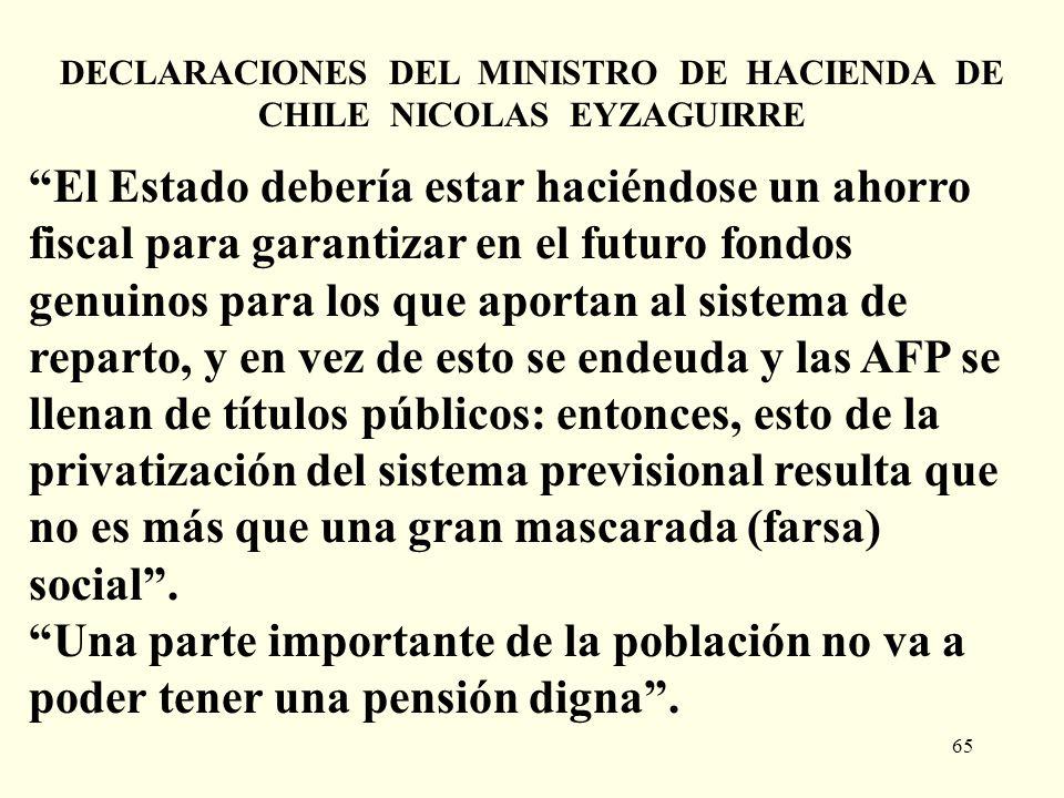 DECLARACIONES DEL MINISTRO DE HACIENDA DE CHILE NICOLAS EYZAGUIRRE