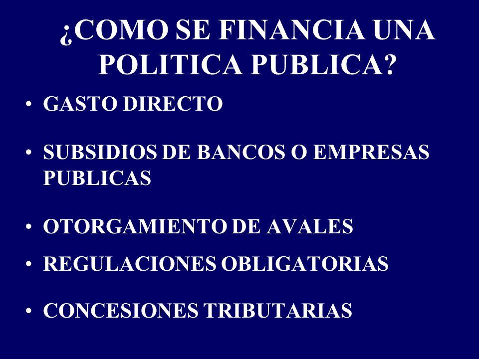 ¿COMO SE FINANCIA UNA POLITICA PUBLICA