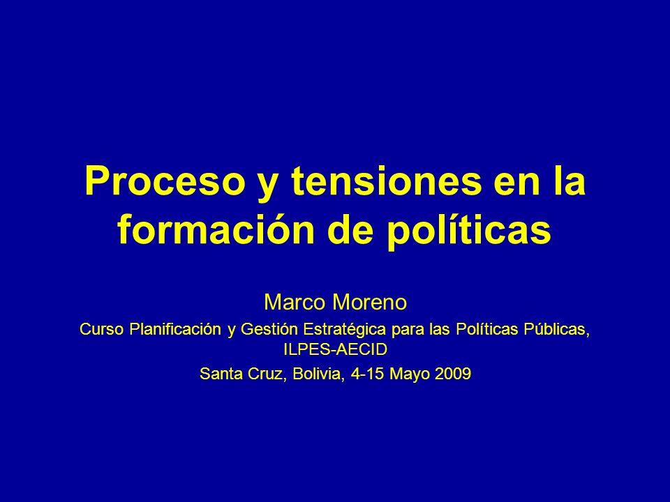Proceso y tensiones en la formación de políticas