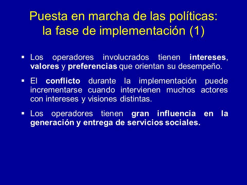 Puesta en marcha de las políticas: la fase de implementación (1)