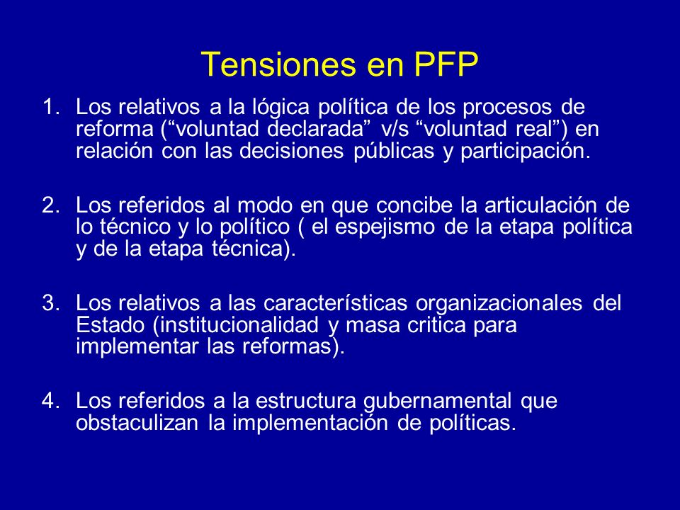 Tensiones en PFP