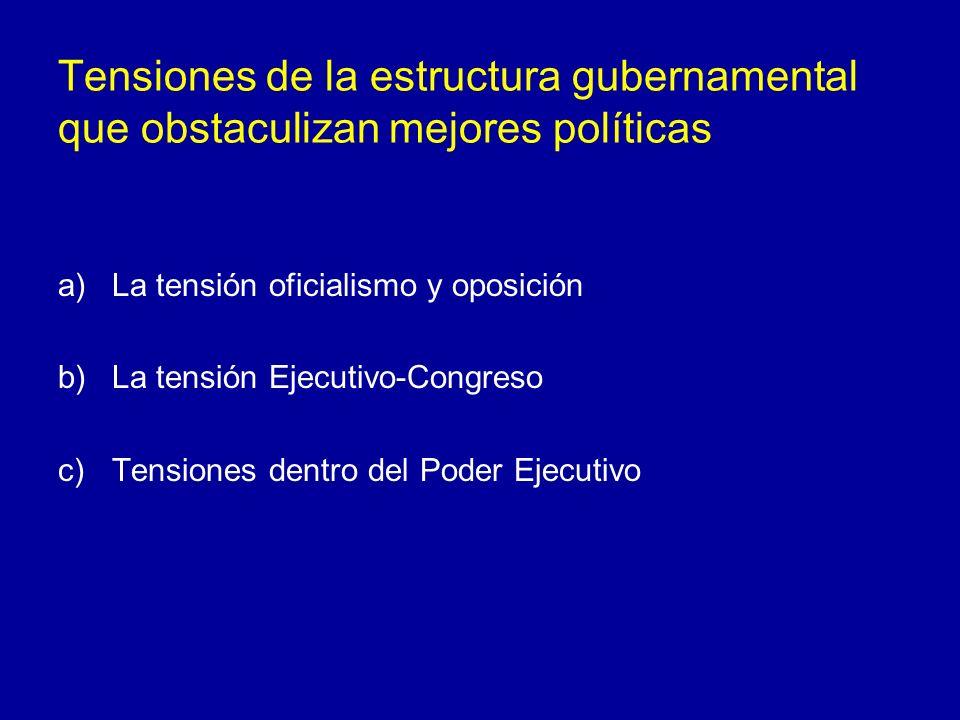Tensiones de la estructura gubernamental que obstaculizan mejores políticas