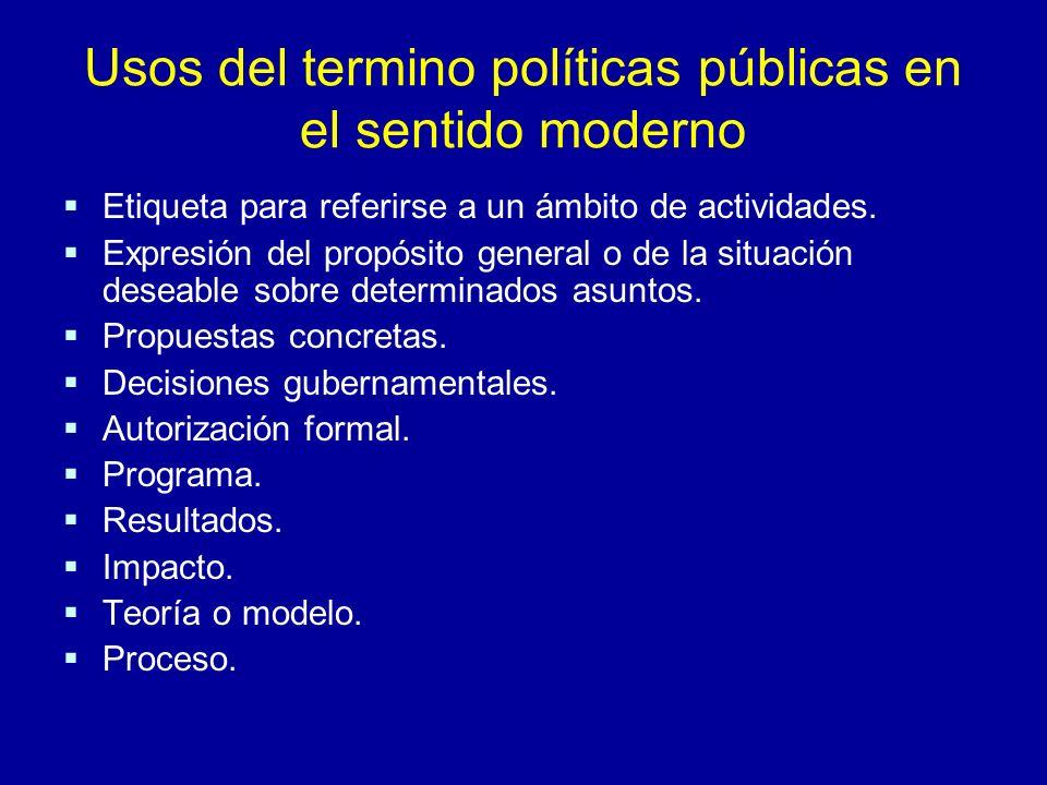 Usos del termino políticas públicas en el sentido moderno