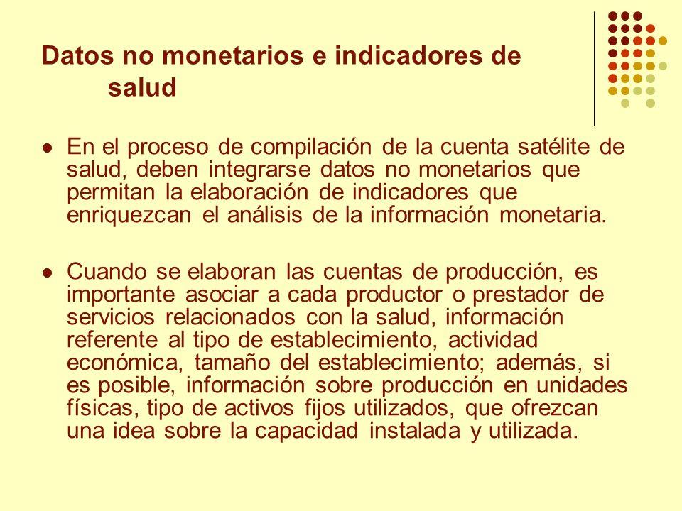Datos no monetarios e indicadores de salud