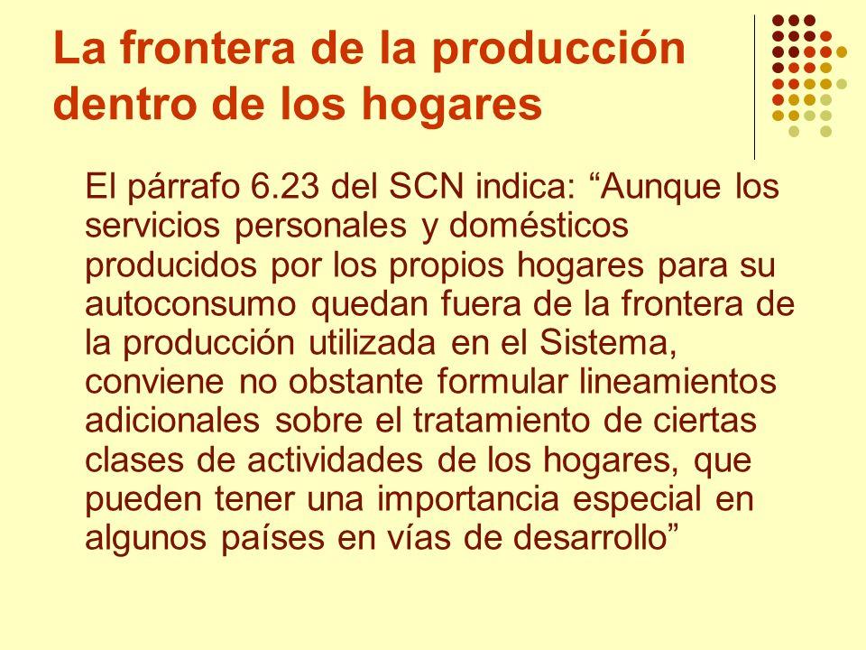 La frontera de la producción dentro de los hogares