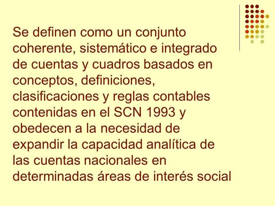 Se definen como un conjunto coherente, sistemático e integrado de cuentas y cuadros basados en conceptos, definiciones, clasificaciones y reglas contables contenidas en el SCN 1993 y obedecen a la necesidad de expandir la capacidad analítica de las cuentas nacionales en determinadas áreas de interés social