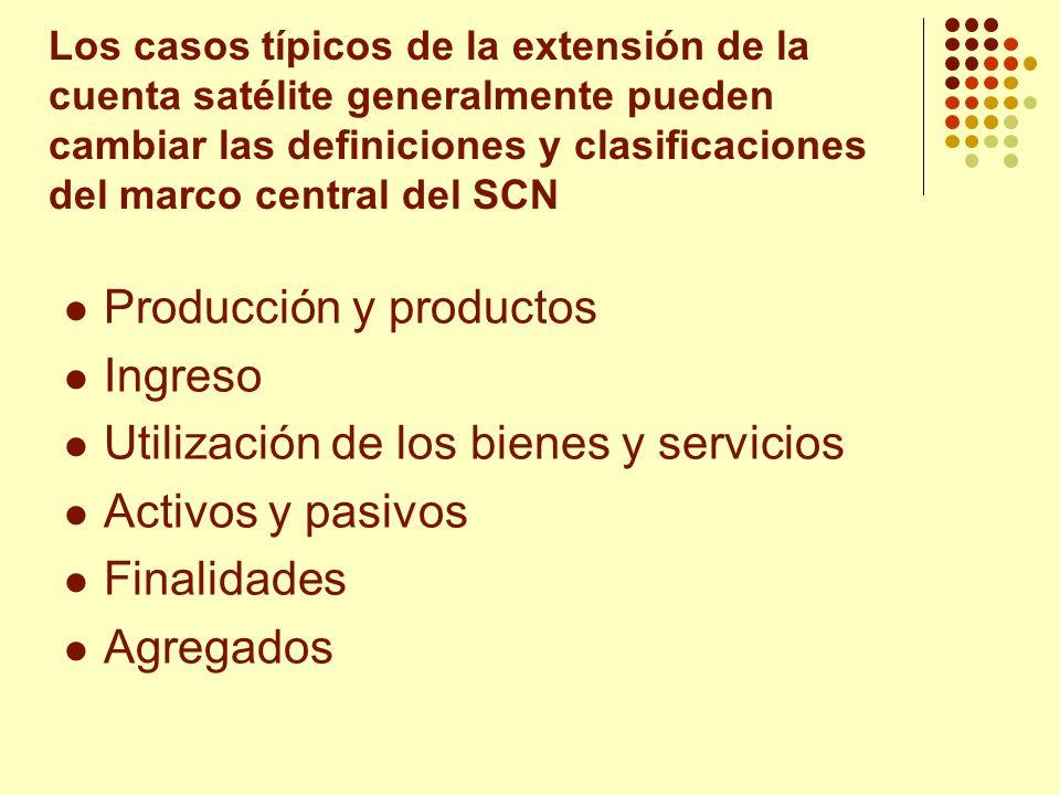 Producción y productos Ingreso Utilización de los bienes y servicios