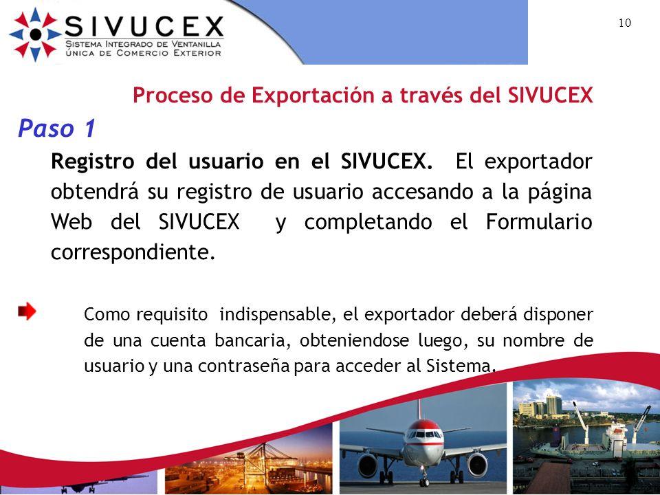 Paso 1 Proceso de Exportación a través del SIVUCEX