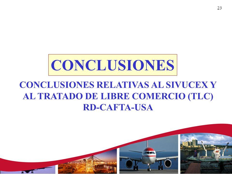 CONCLUSIONES CONCLUSIONES RELATIVAS AL SIVUCEX Y AL TRATADO DE LIBRE COMERCIO (TLC) RD-CAFTA-USA