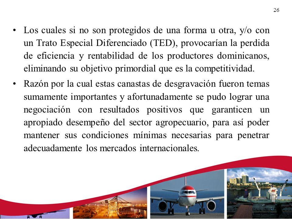 Los cuales si no son protegidos de una forma u otra, y/o con un Trato Especial Diferenciado (TED), provocarían la perdida de eficiencia y rentabilidad de los productores dominicanos, eliminando su objetivo primordial que es la competitividad.