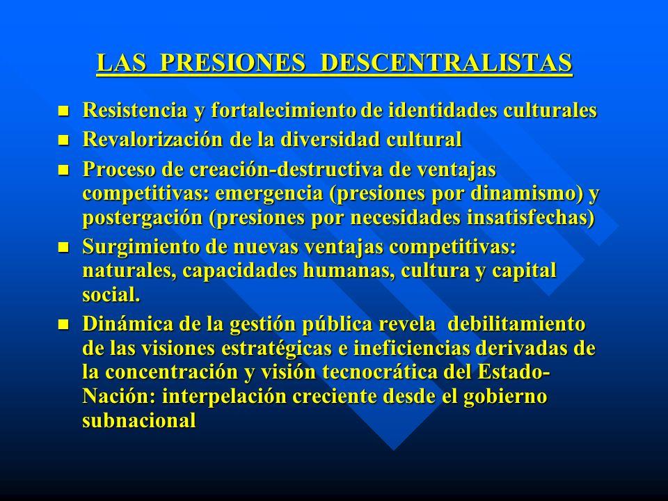 LAS PRESIONES DESCENTRALISTAS