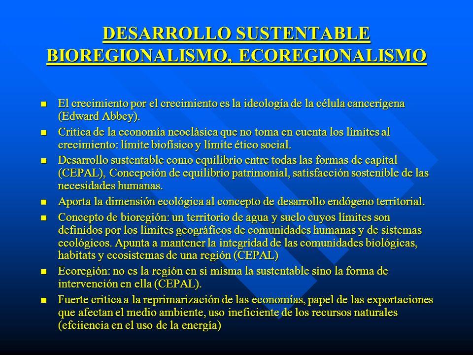 DESARROLLO SUSTENTABLE BIOREGIONALISMO, ECOREGIONALISMO