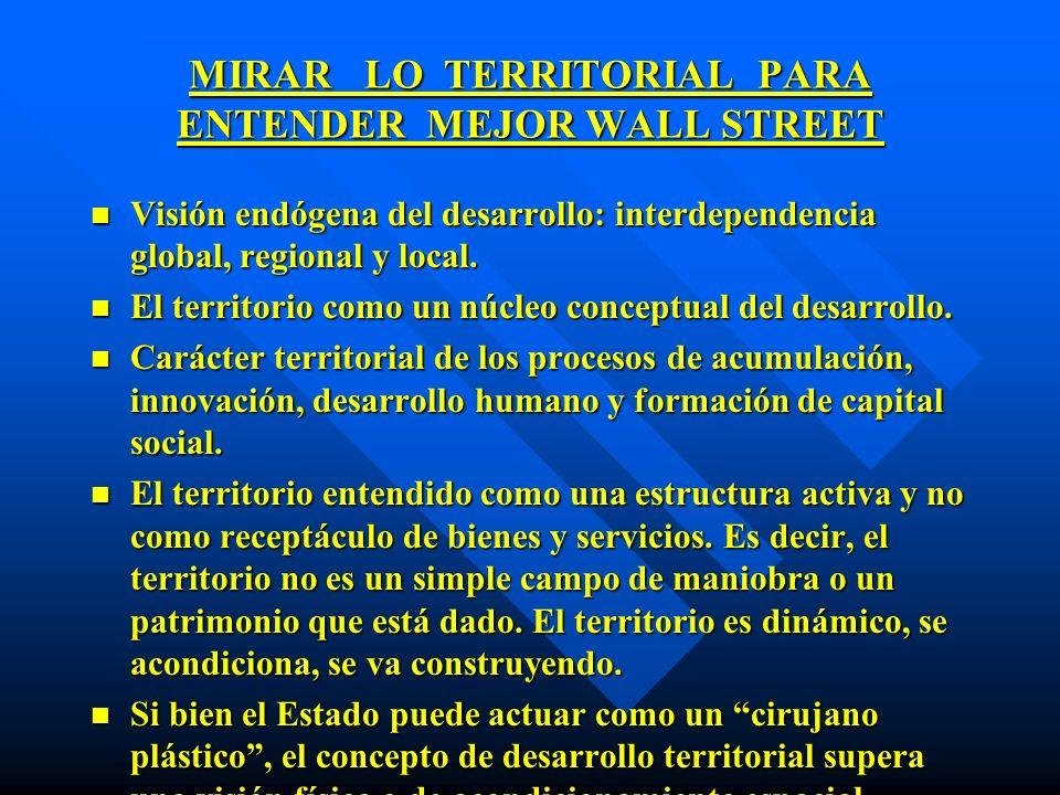 MIRAR LO TERRITORIAL PARA ENTENDER MEJOR WALL STREET