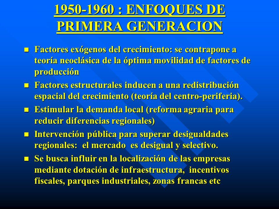 1950-1960 : ENFOQUES DE PRIMERA GENERACION