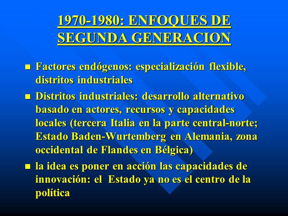 1970-1980: ENFOQUES DE SEGUNDA GENERACION