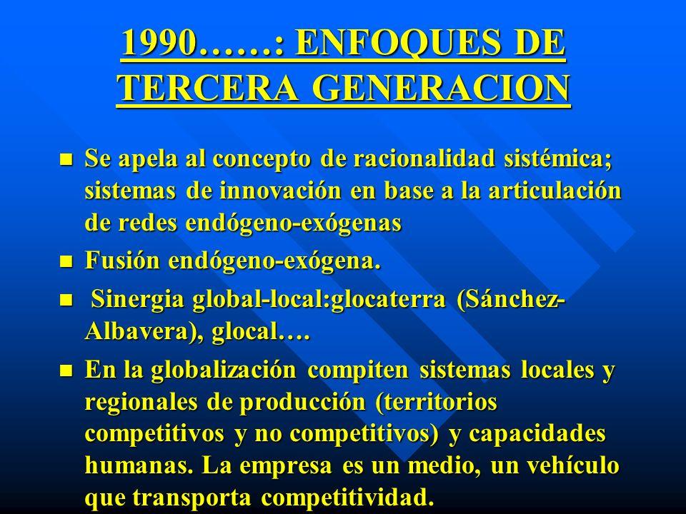 1990……: ENFOQUES DE TERCERA GENERACION
