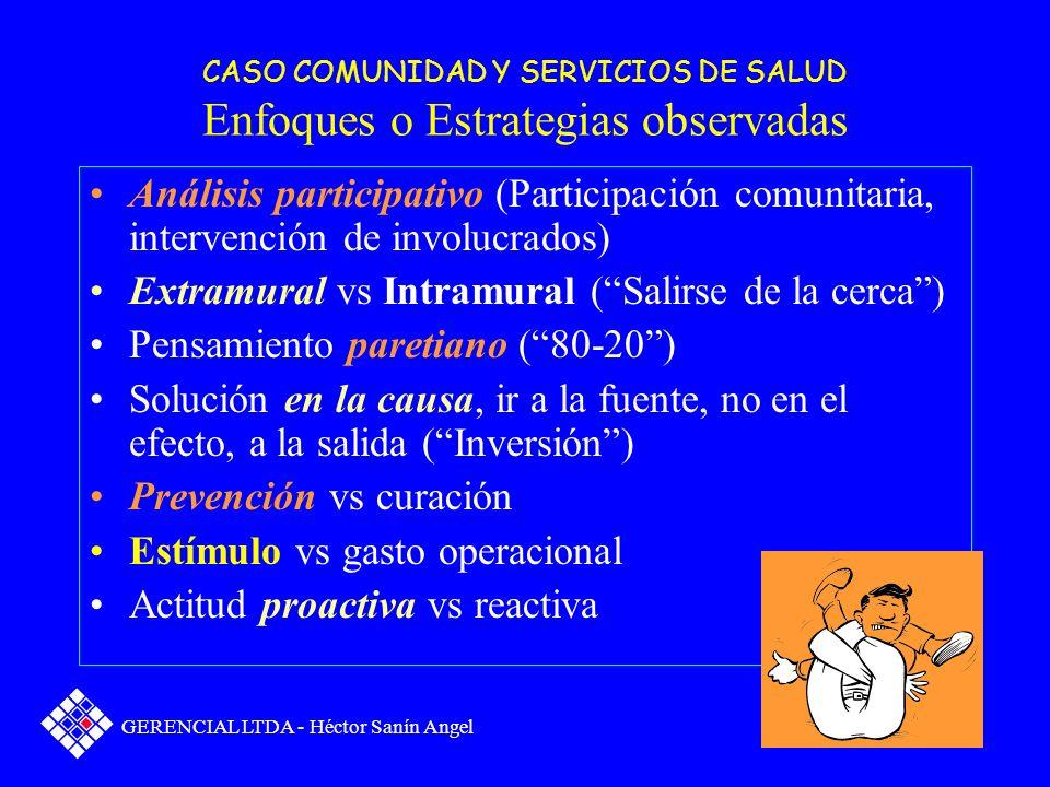CASO COMUNIDAD Y SERVICIOS DE SALUD Enfoques o Estrategias observadas