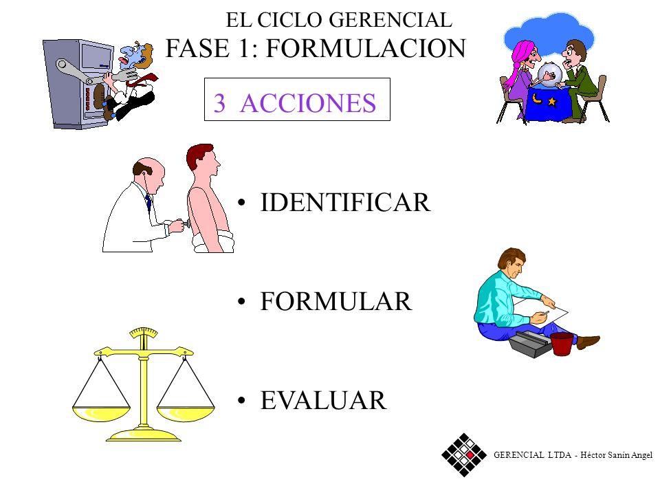 FASE 1: FORMULACION 3 ACCIONES IDENTIFICAR FORMULAR EVALUAR