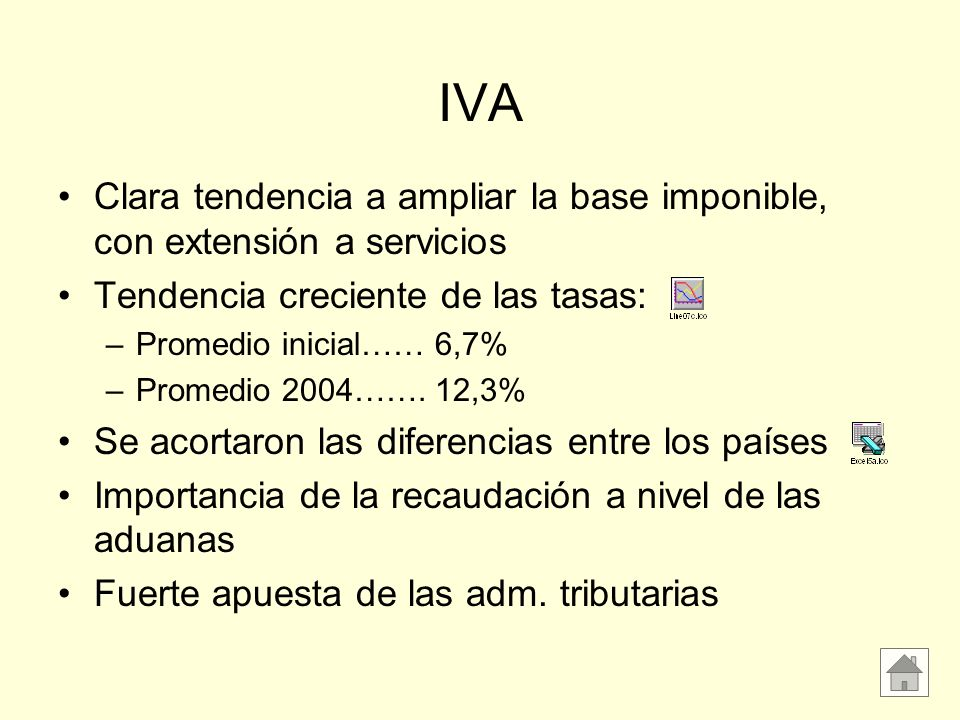 IVA Clara tendencia a ampliar la base imponible, con extensión a servicios. Tendencia creciente de las tasas: