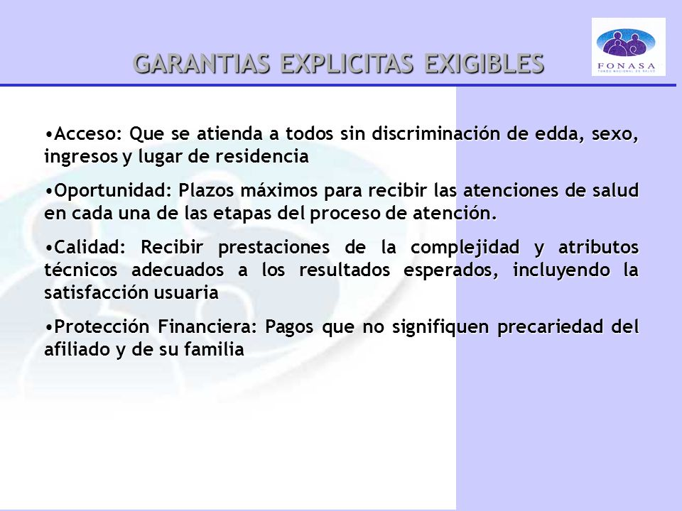 GARANTIAS EXPLICITAS EXIGIBLES