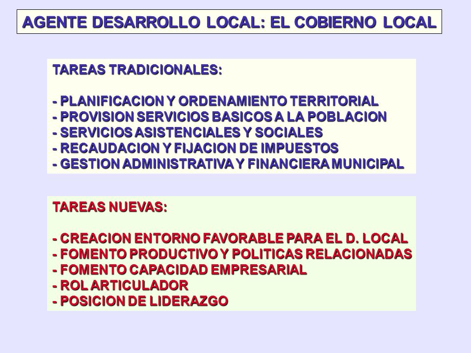 AGENTE DESARROLLO LOCAL: EL COBIERNO LOCAL
