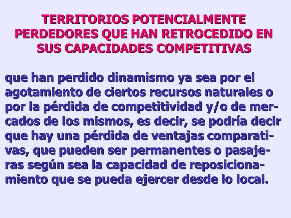 TERRITORIOS POTENCIALMENTE PERDEDORES QUE HAN RETROCEDIDO EN SUS CAPACIDADES COMPETITIVAS