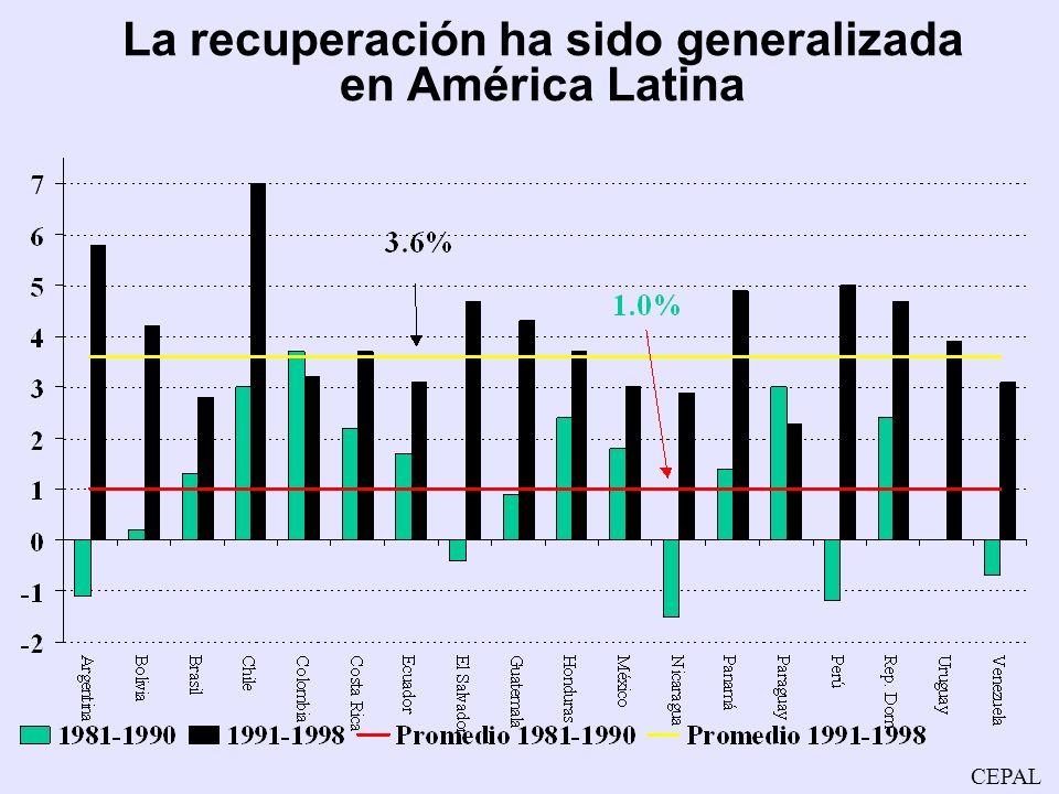 La recuperación ha sido generalizada en América Latina