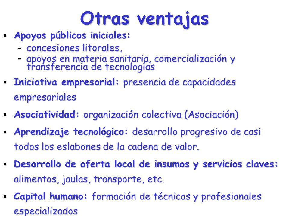 Otras ventajas Apoyos públicos iniciales: concesiones litorales,