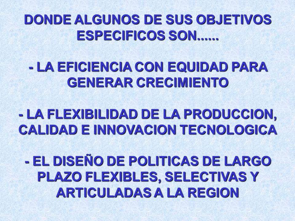 DONDE ALGUNOS DE SUS OBJETIVOS ESPECIFICOS SON......