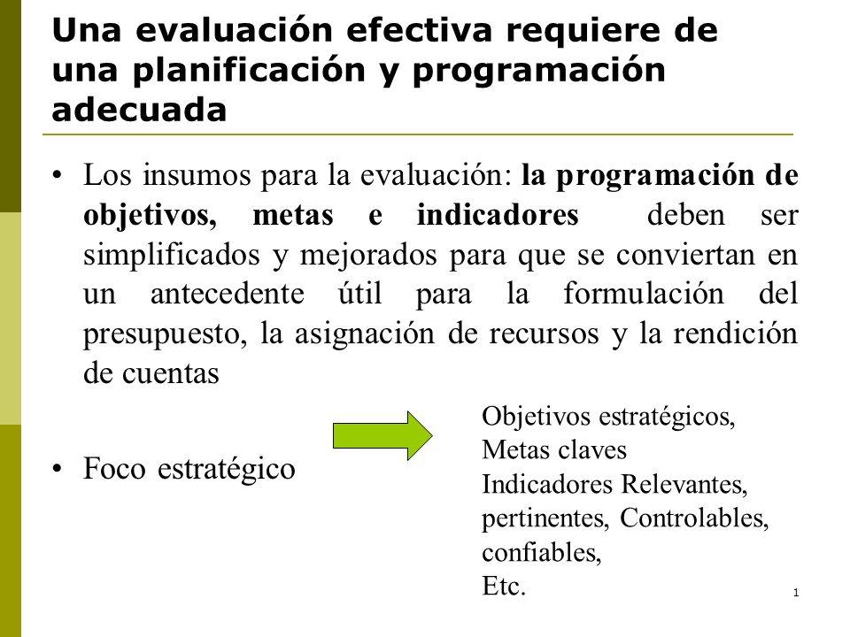 Una evaluación efectiva requiere de una planificación y programación adecuada