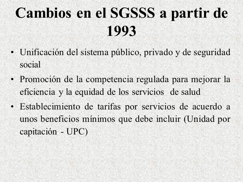 Cambios en el SGSSS a partir de 1993